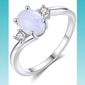 925 Sterling Silver Opal Stone Ring